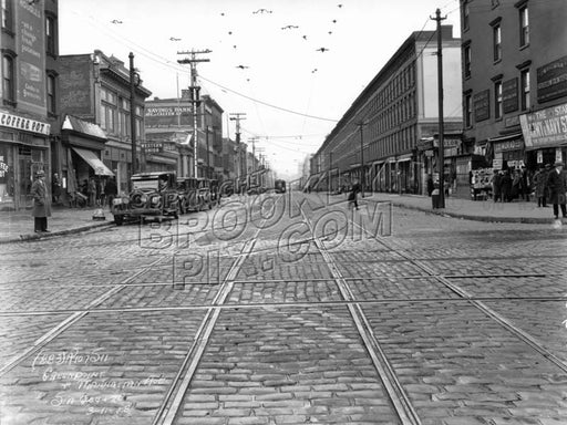 Greenpoint Avenue looking west from Manhattan Avenue, 1928 Old Vintage Photos and Images