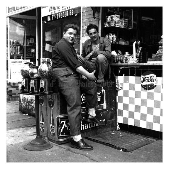 guys hanging out next to a deli Old Vintage Photos and Images