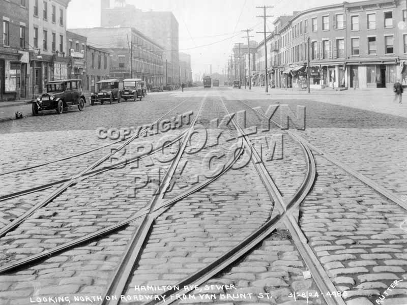 Hamilton Avenue from Van Brunt Street to Carroll Street, 1924 B Old Vintage Photos and Images