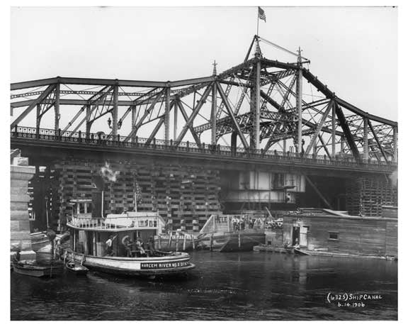 Harlem River number 2  boat in Ship Canal - wide shot - NYC 1906 Old Vintage Photos and Images