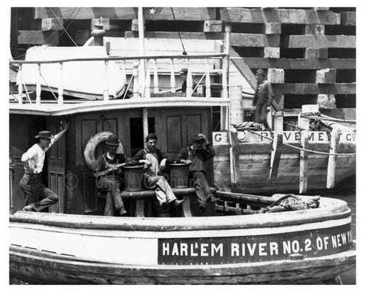 Harlem River number2  boat in Ship Canal  NYC 1906 Old Vintage Photos and Images