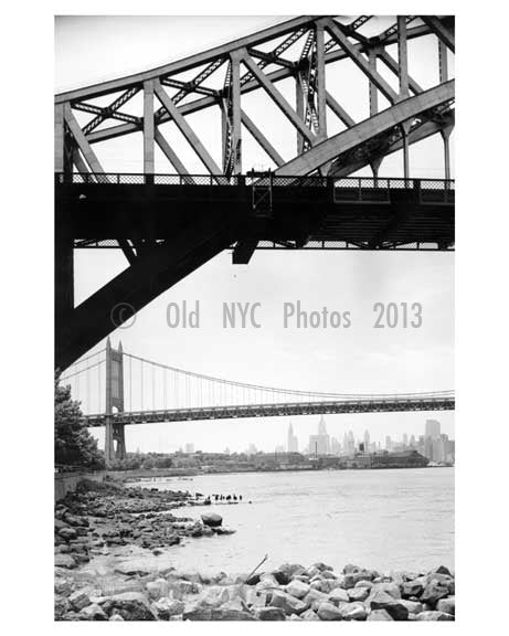 Hell Gate Bridge with the Triboro Bridge in the background 1955  -  Queens, NY Old Vintage Photos and Images