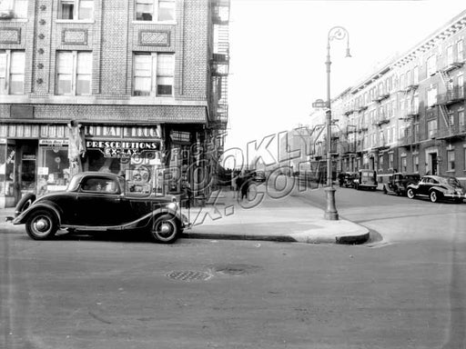 Hopkinson Avenue looking north at St. Marks Avenue toward Bergen Street, 1940 Old Vintage Photos and Images