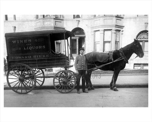 Horse Drawn Wagon  - delivery of wine & liqour Edward Rieke Co. HQ on Bedford & Rutledge Street in Willimsburg Brooklyn NY Old Vintage Photos and Images