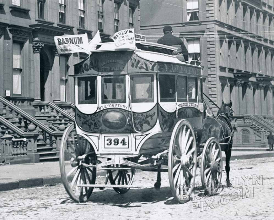 Horsedrawn omnibus on Fifth Avenue, 1888 Old Vintage Photos and Images