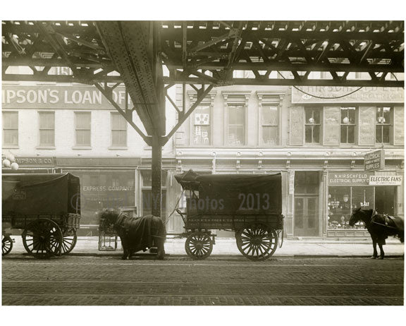 Horses & Wagons line the street - between Broome & Grand Street 1916 Old Vintage Photos and Images