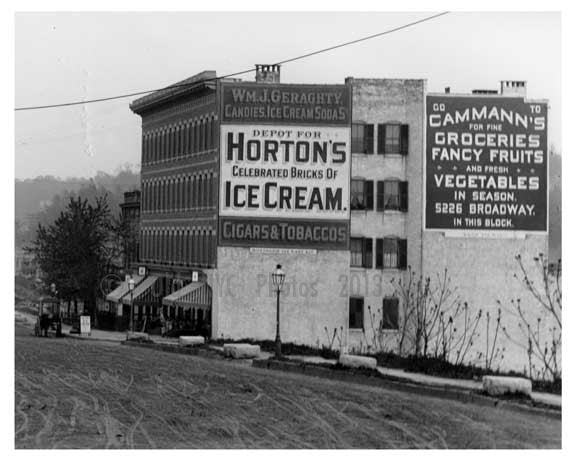 Hortons Ice Cream Billboard at Kingsbridge Road (now called West 225th Street in the Marble Hill) & Ship Canal  Bronx, NY 1903 Old Vintage Photos and Images