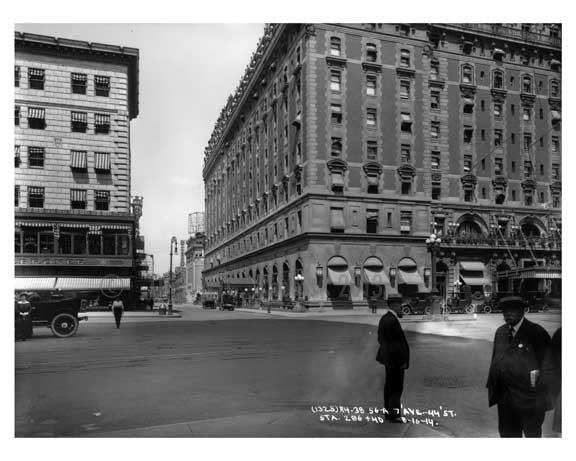 Hotel Astoria on the left 7th Avenue between  44th & 45th Streets - Midtown - Manhattan  1914 Old Vintage Photos and Images