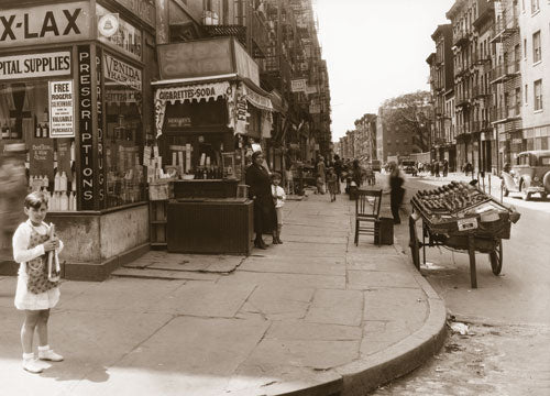 Houston St. west from Mott St. Italian Quarter - Manhattan 1929 Old Vintage Photos and Images