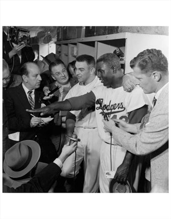 Dodgers Jackie Robinson with The Press