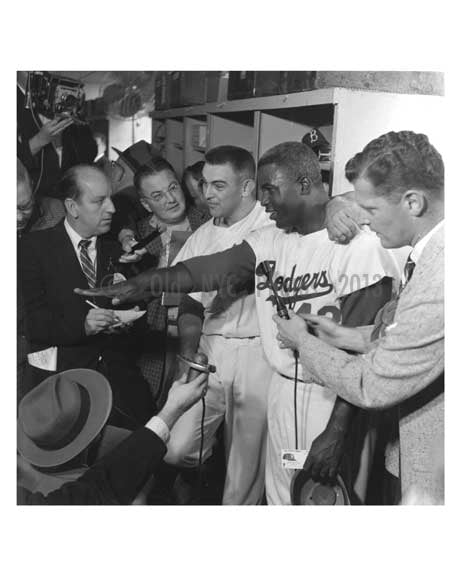 Jackie Robinson in the Dodger Locker Room with Reporters World Series 1956 1