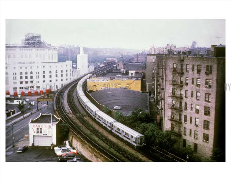 Jerome Ave with trains passing by Yankee Stadium Old Vintage Photos and Images