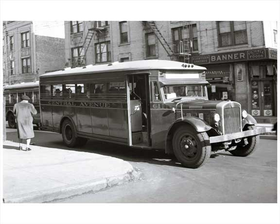 Jersey City Bus - Central Avenue 1948 NJ Old Vintage Photos and Images