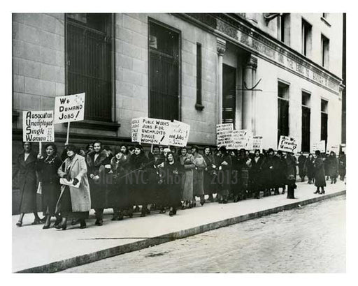Jobs Demonstration downtown Manhattan during the Great Depression 1933 Old Vintage Photos and Images