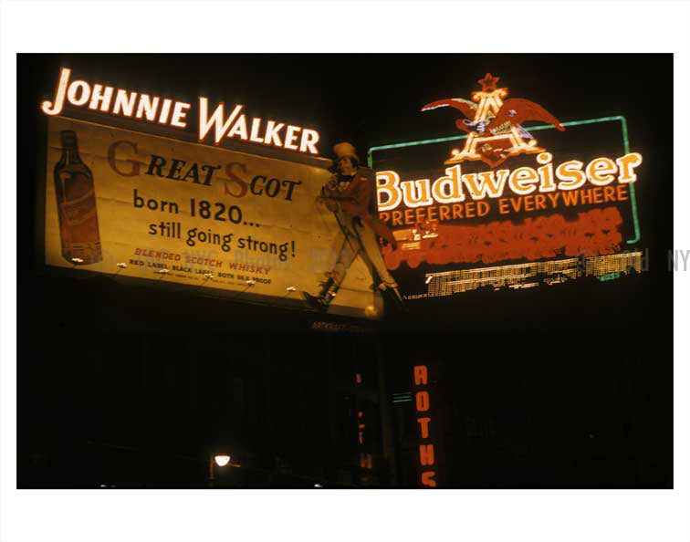 Johnny Walker & Budweiser Ads in NYC Old Vintage Photos and Images