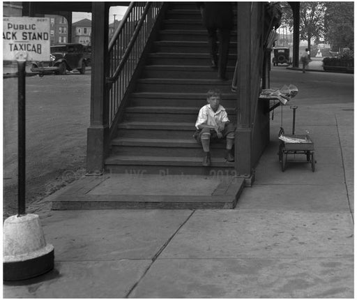 kid waiting at the Broadway Train Station Old Vintage Photos and Images