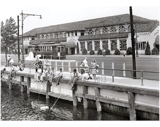 Kids fishing across from Lundy's - Ocean & Emmons Avenues 1950 Old Vintage Photos and Images