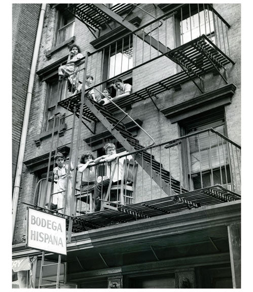 Kids hanging out on the fire escape - Brooklyn NY Old Vintage Photos and Images