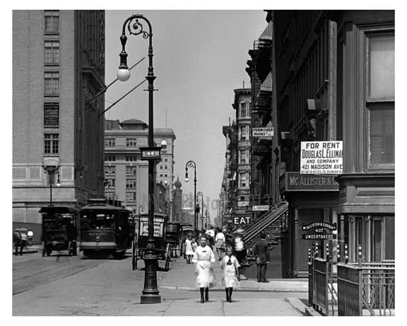 Kids walking down Lexington & 44th - Midtown East  1912 - NYC Old Vintage Photos and Images