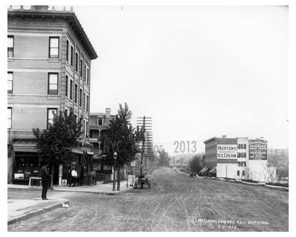 Kingsbridge Road (now called West 225th Street in the Marble Hill) & Ship Canal  Bronx, NY 1903 Old Vintage Photos and Images