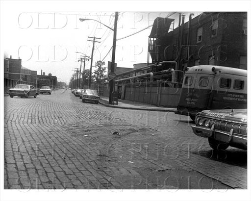 Kingsland Ave south facing Greenpoint Ave with ambulance truck 1966 Old Vintage Photos and Images