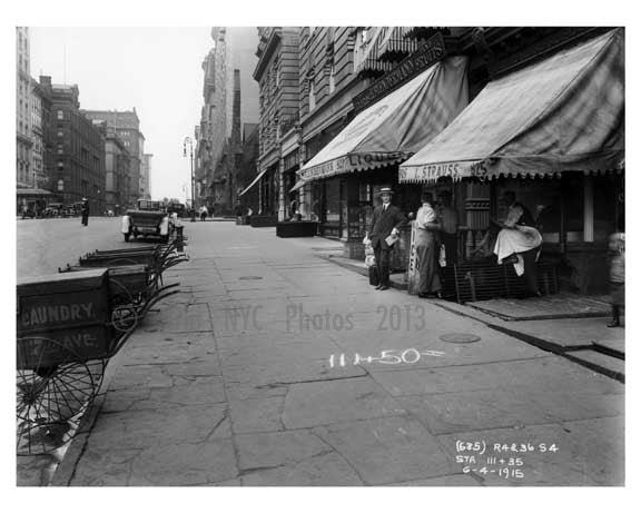 Laundry Carts on 7th Avenue & West 54th Street -  Midtown Manhattan 1914 Old Vintage Photos and Images