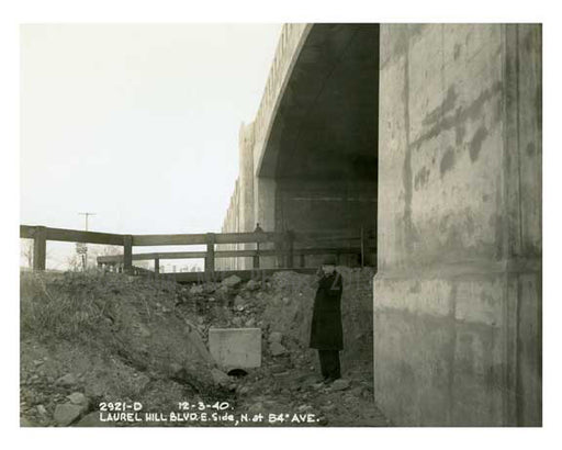 Laurel Hill Blvd & 54th Avenue beneath the approach to Kosciusco Bridge - 1940 - Maspeth Queens NYC A Old Vintage Photos and Images