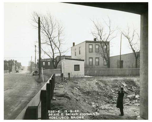 Laurel Hill Blvd & 54th Avenue beneath the approach to Kosciusco Bridge 1940  - Maspeth Queens NYC C Old Vintage Photos and Images