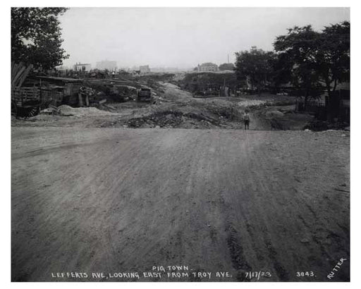"Lefferts Ave looking east from Troy Ave 1923 - ""pigtown"" Old Vintage Photos and Images"