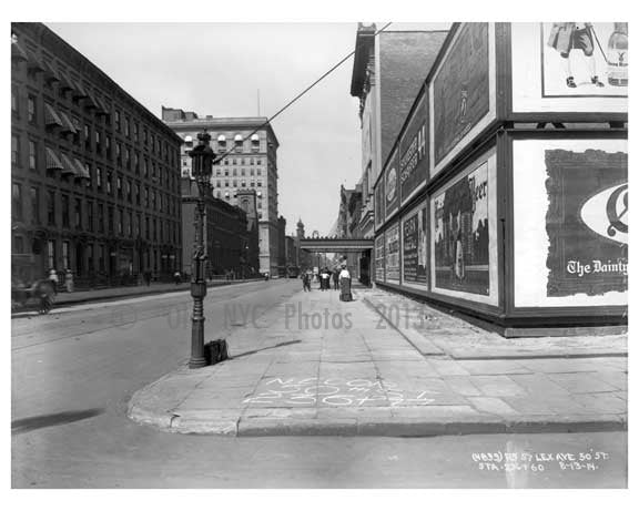 Lexington Avenue & 50th Street - Midtown -  Manhattan NYC 1914 Old Vintage Photos and Images