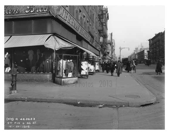 Lieberman Brothers Clothes Shop on the corner of 8th Avenue   & 46th Street  - Midtown Manhattan - 1914 Old Vintage Photos and Images
