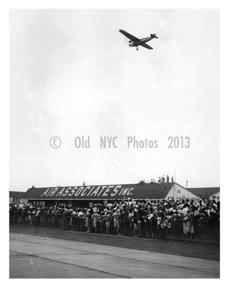 Lindenbergh just before landing in Rooselvelt Field 6 26 1930 - Garden City - Long Island, NY Old Vintage Photos and Images