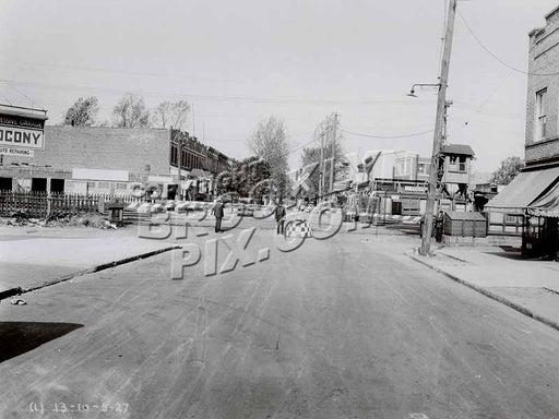 Looking north on Autumn Avenue toward Atlantic Avenue and Long Island Rail Road crossing, 1927 Old Vintage Photos and Images
