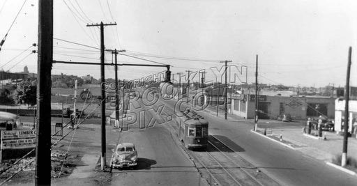 Looking north on Utica Avenue from LIRR trestle between Glenwood Road and Foster Avenue, c.1950 Old Vintage Photos and Images