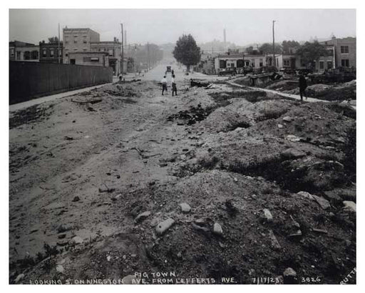 "Looking south at Kingston Ave from Lefferts Ave 1923 - ""pigtown"" Old Vintage Photos and Images"