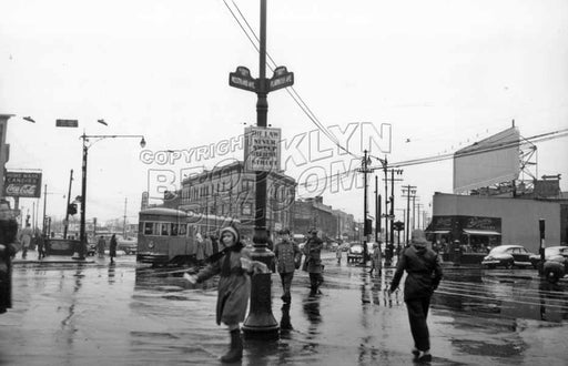 Looking south at The Junction, 1951, with girl distributing pamphlets Old Vintage Photos and Images