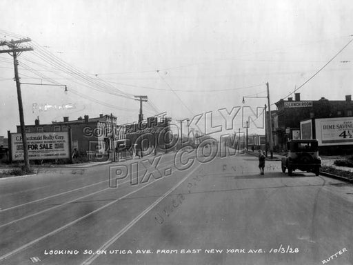 Looking south on Utica Avenue from East New York Avenue, 1928 Old Vintage Photos and Images