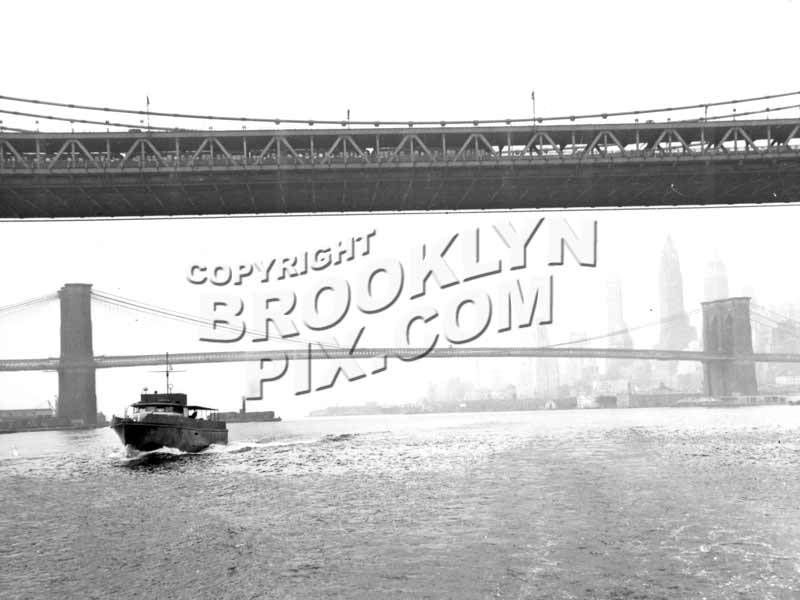 Looking under Manhattan Bridge toward Brooklyn Bridge, c.1950 Old Vintage Photos and Images