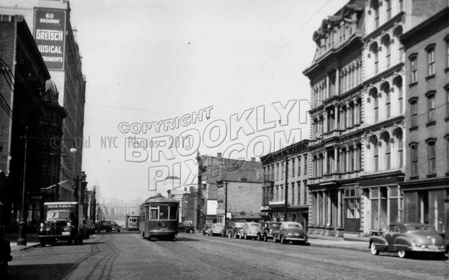 Looking west down Broadway toward the East River showing Gretsch Building, 1950 Old Vintage Photos and Images