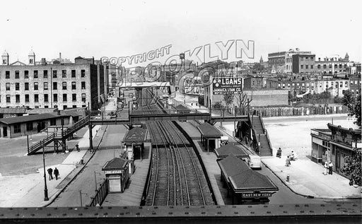 Looking west from Canarsie subway line overpass to Long Island Rail Road station, 1939 Old Vintage Photos and Images
