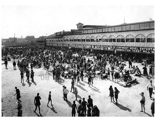 looking west from Steeplechase pier showing Sunday crowd on the beach 1922 Old Vintage Photos and Images