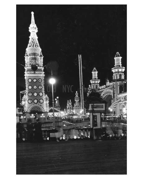 Luna Park at night Coney Island Brooklyn NYC Old Vintage Photos and Images