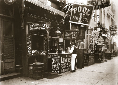 Lunch Stand at 53 Bowery - ca 1910 Old Vintage Photos and Images