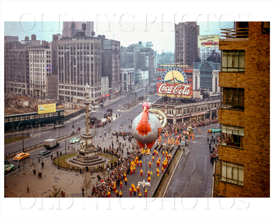 Macy's Thanksgiving Day Parade at Columbus Circle in Manhattan Old Vintage Photos and Images