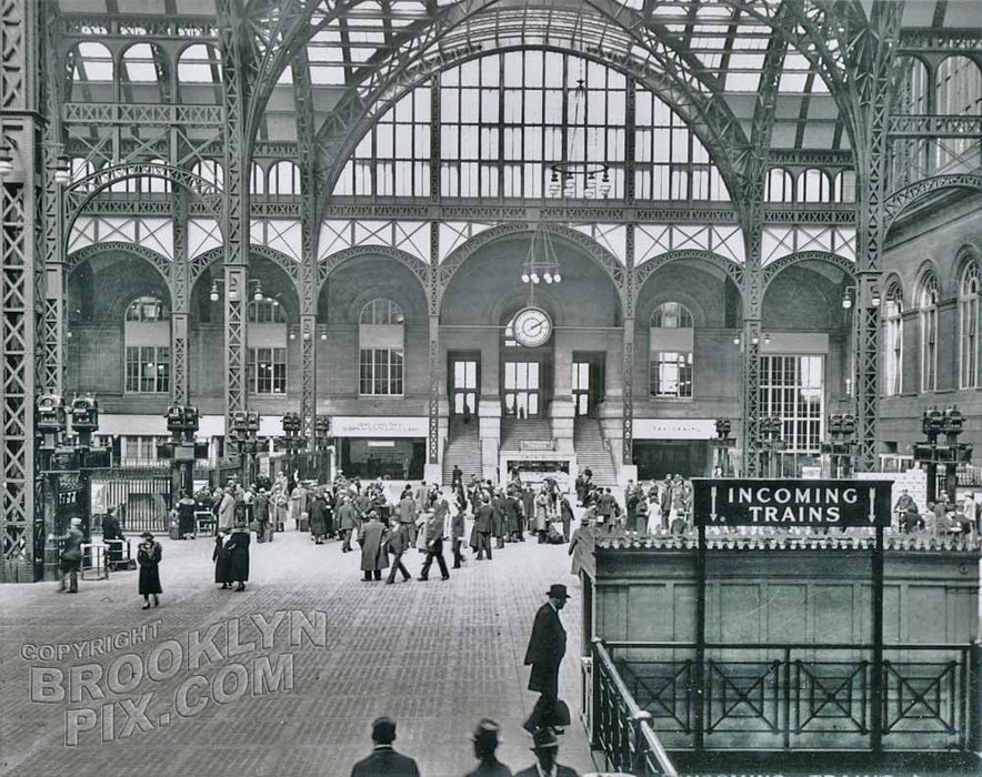 Main train concourse, Pennsylvania Station, looking toward 31st Street, 1937 Old Vintage Photos and Images