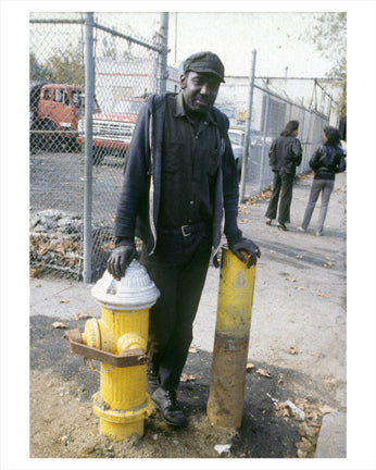 Man by Fire Hydrant - Flatbush Brooklyn NY Old Vintage Photos and Images