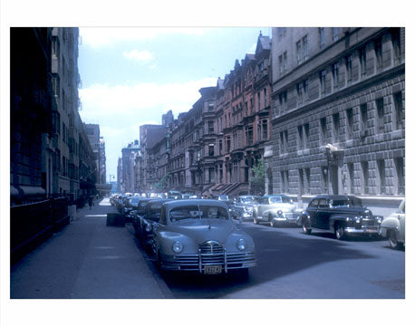 Classic Cars parked on a quiet street in mdtown Manhattan NY circa 1940 Old Vintage Photos and Images