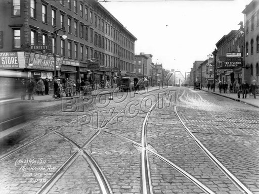 Manhattan Avenue looking north from Greenpoint Avenue, 1928 Old Vintage Photos and Images