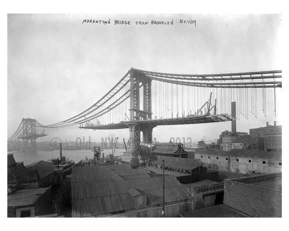 Manhattan Bridge 1909 as seen from  Brooklyn, NY Old Vintage Photos and Images