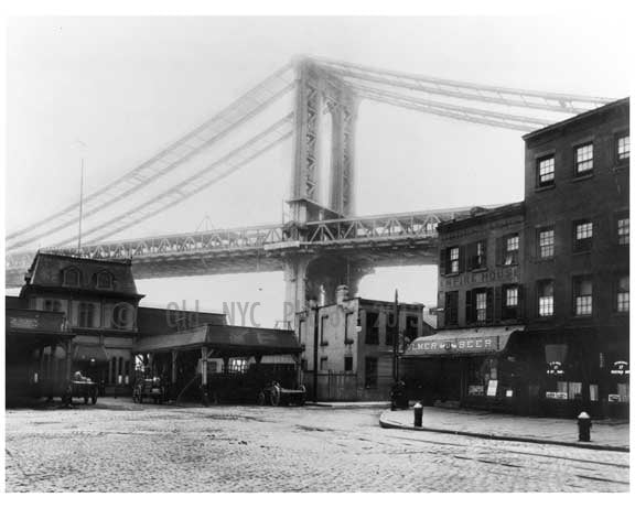Manhattan Bridge - foot of Main Street - under construction 1908 Old Vintage Photos and Images